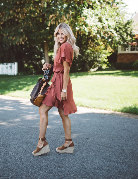 cd8d3c67e818 dress tumblr dusty pink mini dress wrap dress short sleeve dress sandals  wedges wedge sandals bag