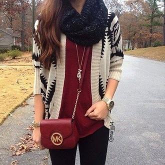 cardigan fall outfits scute style indie michael kors burgundy beige tribal pattern fall sweater michael kors bag scarf