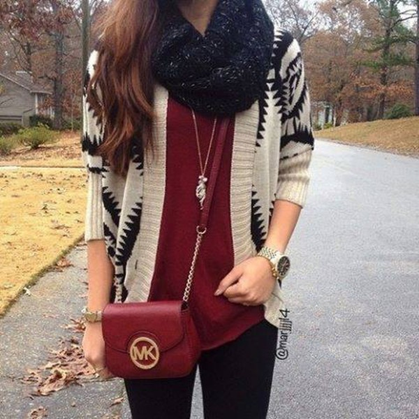 cardigan fall outfits scute style indie michael kors burgundy beige tribal pattern fall sweater michael kors bag scarf