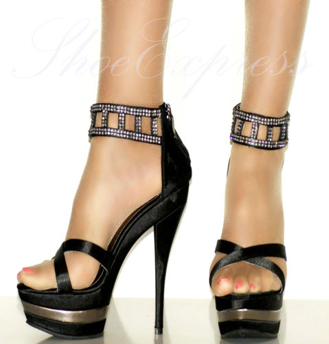 WOMENS/GREAT OFFERS- crystals/black//HIGH HEEL platform,party shoes UK 3-8   Amazing Shoes UK
