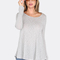 Lace up deep scoop top heather grey -shein(sheinside)