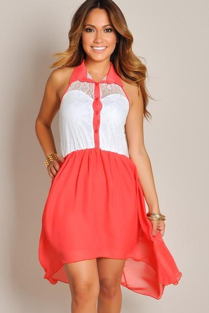 Cheap coral high low dress