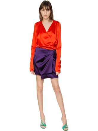 dress wrap dress satin orange red