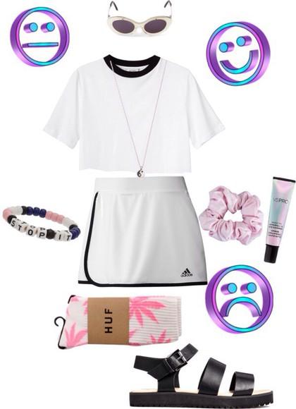 white skirt adidas skort white skirts crop tops white top vintage skirt vintage