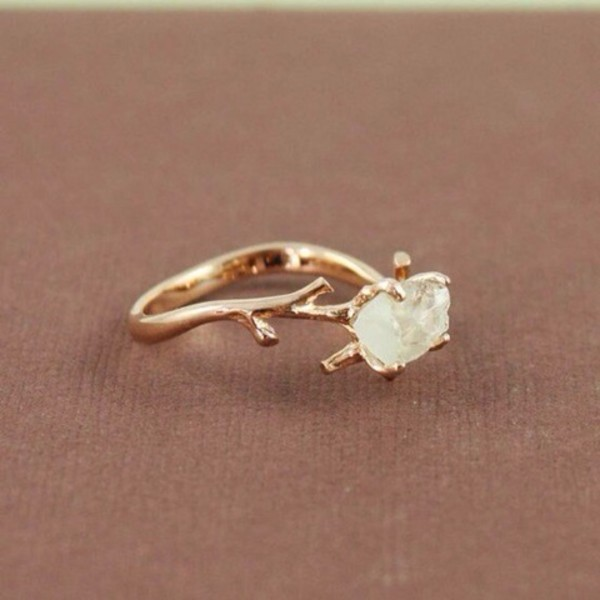 jewels ring bague or pierre blanche blanc stone branche tree branch