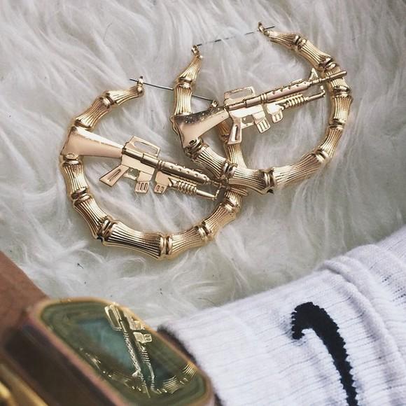 jewels gangsta earrings gun ghetto hoops