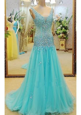 dress blue dress long prom dress tulle prom dress prom gowns 2016 v neck dress elegant prom dresses beadding formal dresses straps prom dress 2016 prom dresses trends luxury prom dresses