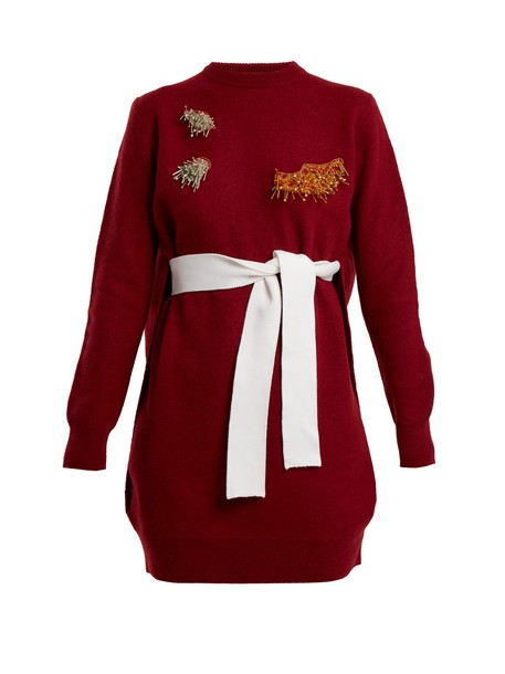 Toga dress embellished wool red