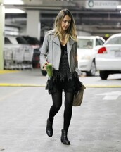 jacket,dress,boots,ankle boots,jessica alba