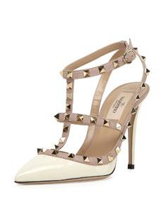 Valentino rockstud patent sandal, light poudre