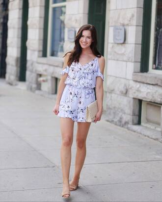 romper floral romper tumblr floral cut-out shoes sandals flat sandals bag clutch summer outfits date outfit