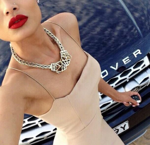 bodycon nude dress dress beige dress nude make-up make-up jewels