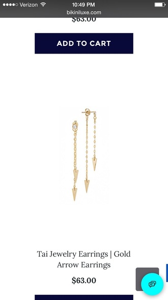 jewels gold earrings gold arrow earrings arrow arrows arrow jewelry tai tai jewelry hanging earrings dangling earrings drop earrings