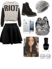 shoes,black,boots,riot,black and white,beanie,leather,grunge,little black boots,skater skirt,bag,skirt,sweater,make-up,nail polish,jacket