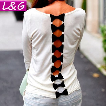 Aliexpress.com : buy l&g fashion 2015 women blouses hot selling casual v cutout bow back shirt spring summer blusas femininas tops for women 40192 from reliable blouse green suppliers on ladies&gentlemen
