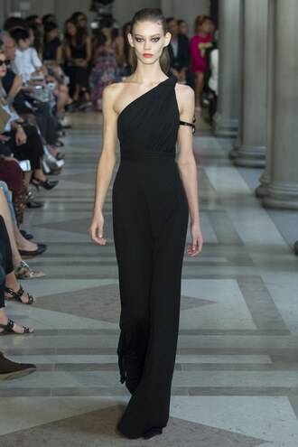 dress one shoulder black dress black prom dress gown carolina herrera runway ny fashion week 2016