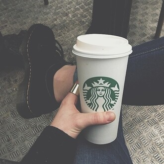 shoes black starbucks coffee ring jeans jewels cardigan