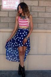 skirt,july 4th,top,jumpsuit,maxi skirt,stripes,americanflag croptop sleeveless,stars,american flag,crop tops,american flag shirt,american flag crop top,midi skirt,style