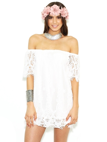 West Coast Wardrobe Positive Thoughts Off the Shoulder Dress in White