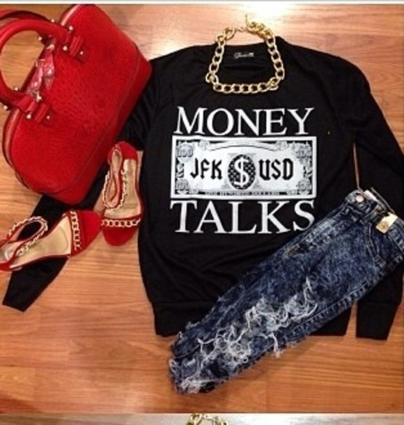 sweater ripped jeans necklace high heels big purse bag