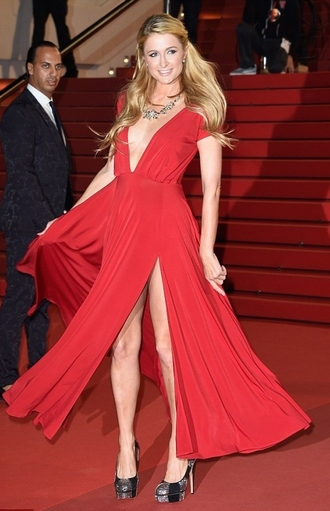 gown red dress paris hilton prom dress
