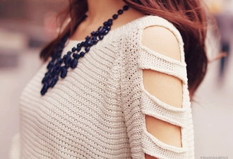 blouse sweater cut out shoulder ulzzang kfashion