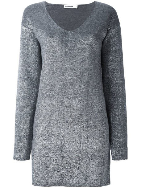jumper long women fit wool grey sweater