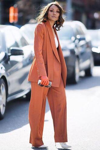 pants blazer streetstyle spring outfits fashion week ny fashion week 2018 kat graham
