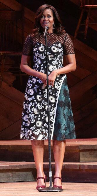 dress asymmetrical asymmetrical dress pumps midi dress first lady outfits michelle obama