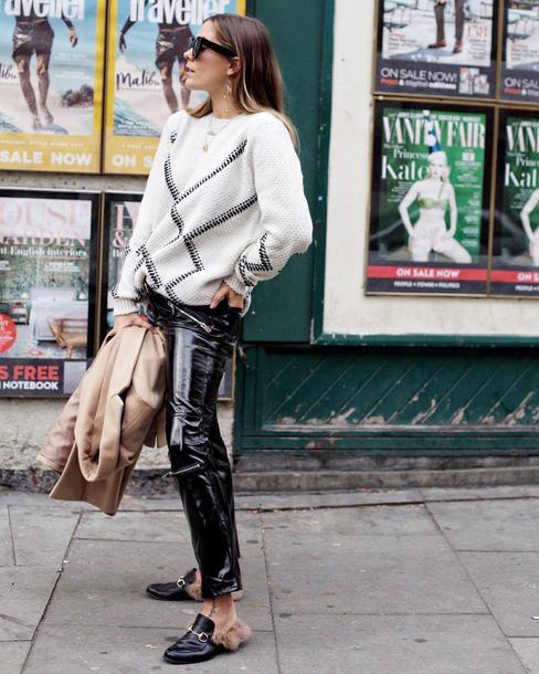 sweater tumblr white sweater knit knitwear knitted sweater pants black pants black vinyl pants shoes mules sunglasses