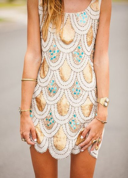 dress sequin dress sequins sparkle dress gold short dress scallop scalloped dress