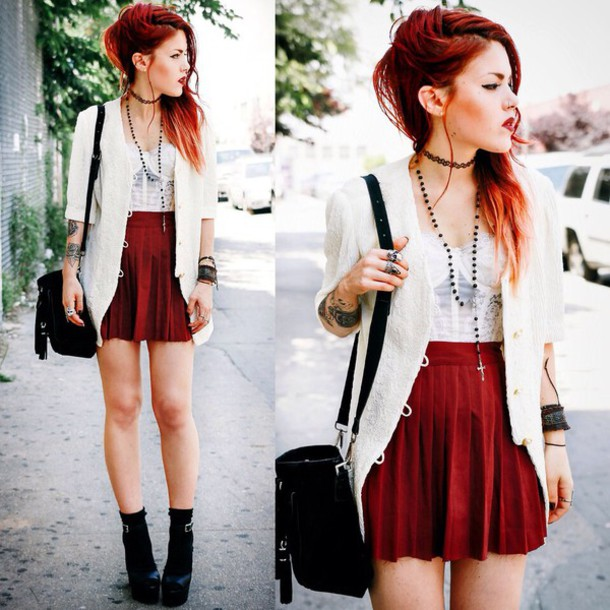 Skirt Le Happy Punk Rock Grunge Red Skirt Style