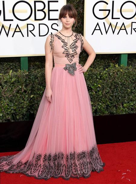 Dress Golden Globes 2017 Felicity Jones Red Carpet Dress Gown