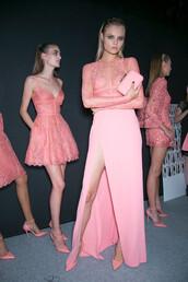 dress,prom,pink,tumblr,designer,lace,long,slit,shoes