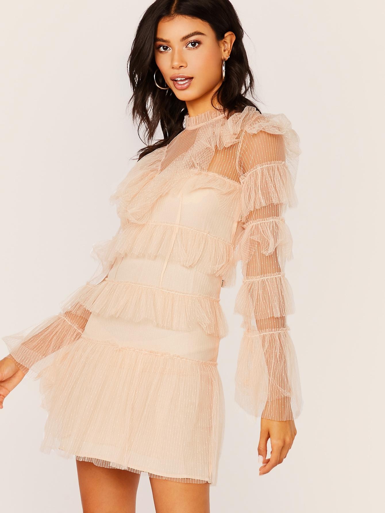Tiered Ruffle Mesh Long Sleeve Mini Dress | MakeMeChic.COM