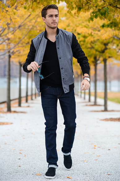 baseball jacket sunglasses jacket blogger jewels jeans i am galla menswear