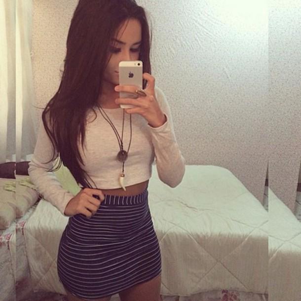 blouse skirt jewels listrada saia casaco claro shirt black and tan striped skirt mini skirt tan black