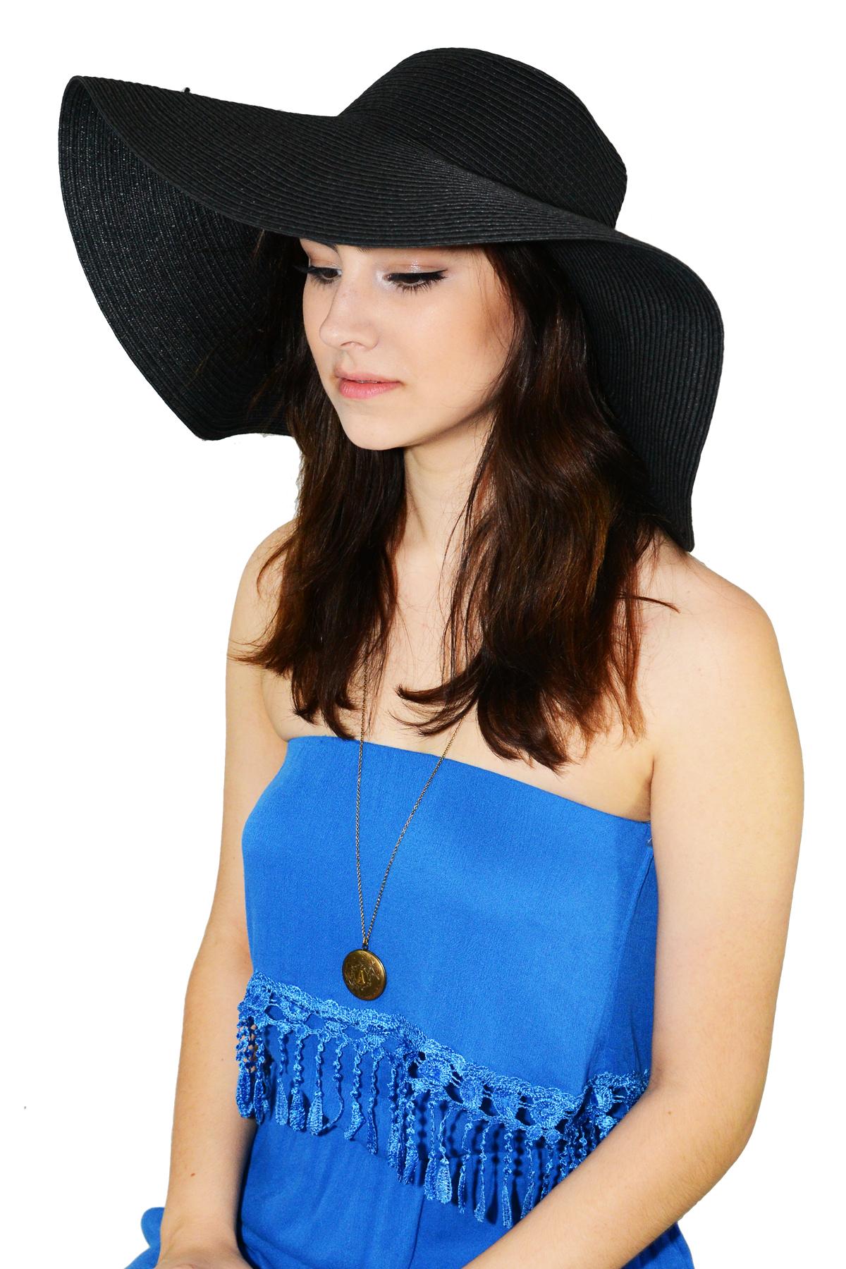 Black wide brim floppy hat  — simply chic