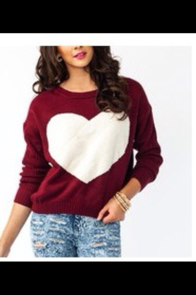 heart sweater burgundy knit sweater