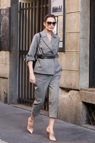 pants tumblr belt cropped pants grey pants blazer grey blazer pumps pointed toe pumps high heel pumps sunglasses two piece pantsuits streetstyle spring outfits