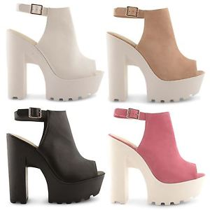 NEW LADIES CLEATED SOLE CHUNKY HIGH HEEL PLATFORM BOOTS SANDALS UK SIZES 3-8