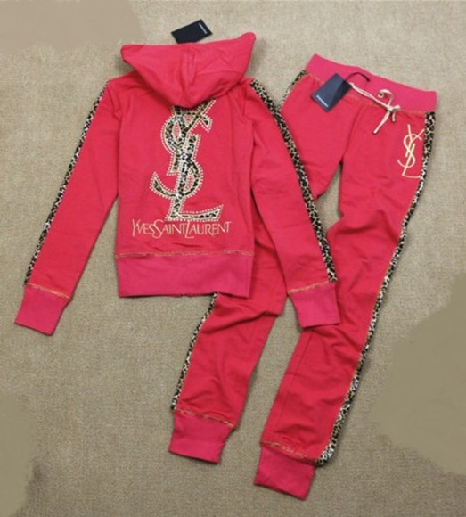 yves saint laurent ysl tank top tracksuit red