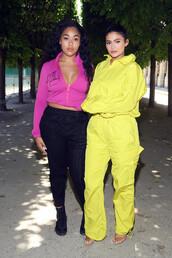 pants,yellow,sweatpants,sweatshirt,kylie jenner,kardashians,celebrity,jordyn woods