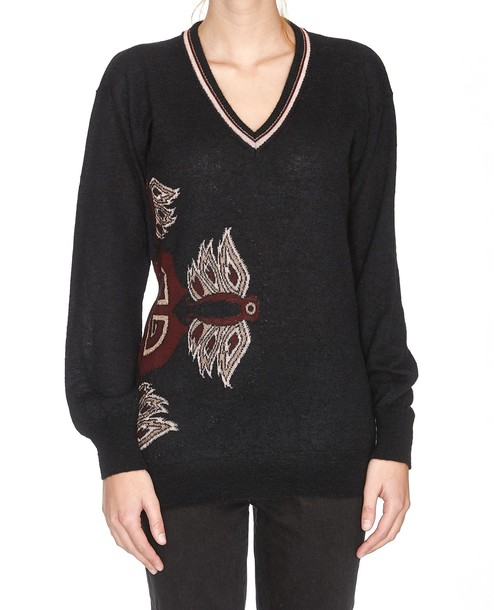 pullover black pink sweater