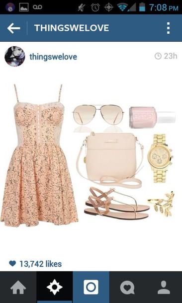 dress pink dress floral dress sandals