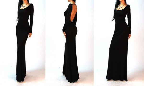 black dress wedding dress prom dress open back dresses backless dress homecoming dress long sleeve dress date dress dress