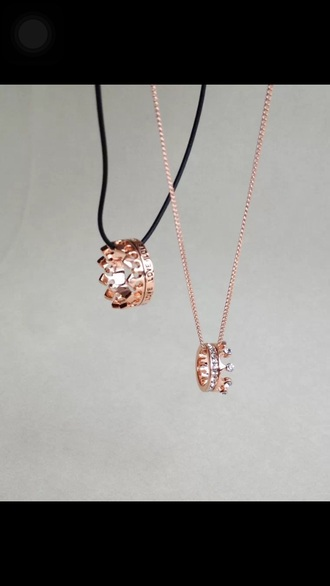 jewels couples necklaces crown ring rose gold