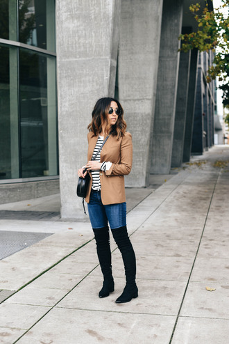 crystalin marie blogger t-shirt jacket jeans shoes bag sunglasses sweater hat fall outfits thigh high boots crossbody bag blazer