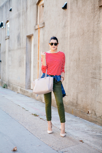 kendi everyday blogger nude bag striped shirt