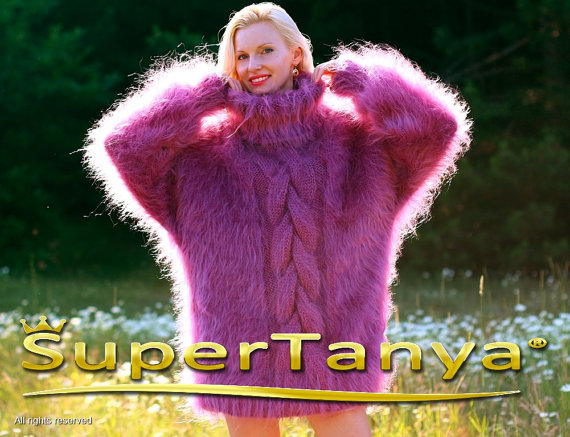 Extra thick purple hand knitted mohair sweater with by supertanya